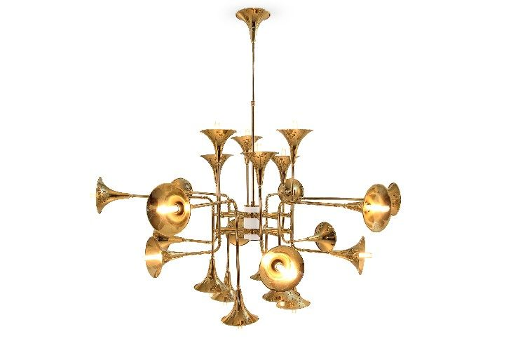 Brass Suspension Lamp | LIVING ROOM DESIGN TRENDS: BRASS DETAILS see more at http://delightfull.eu/blog/2016/01/05/living-room-design-trends-brass-details/