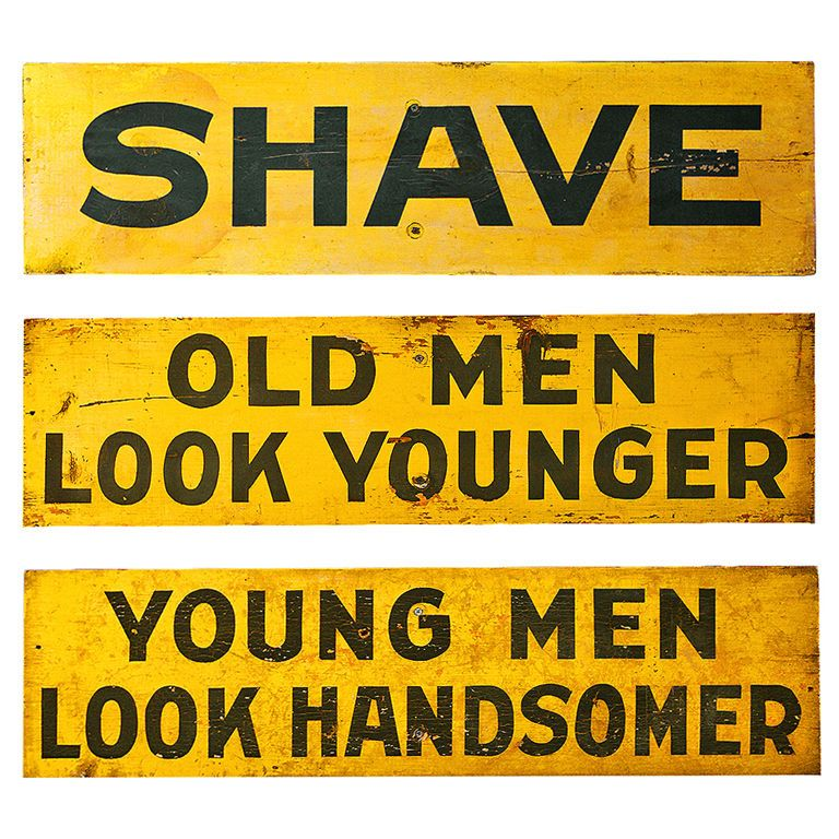 Set of Three c. 1928 Burma-Shave Highway Advertising Signs
