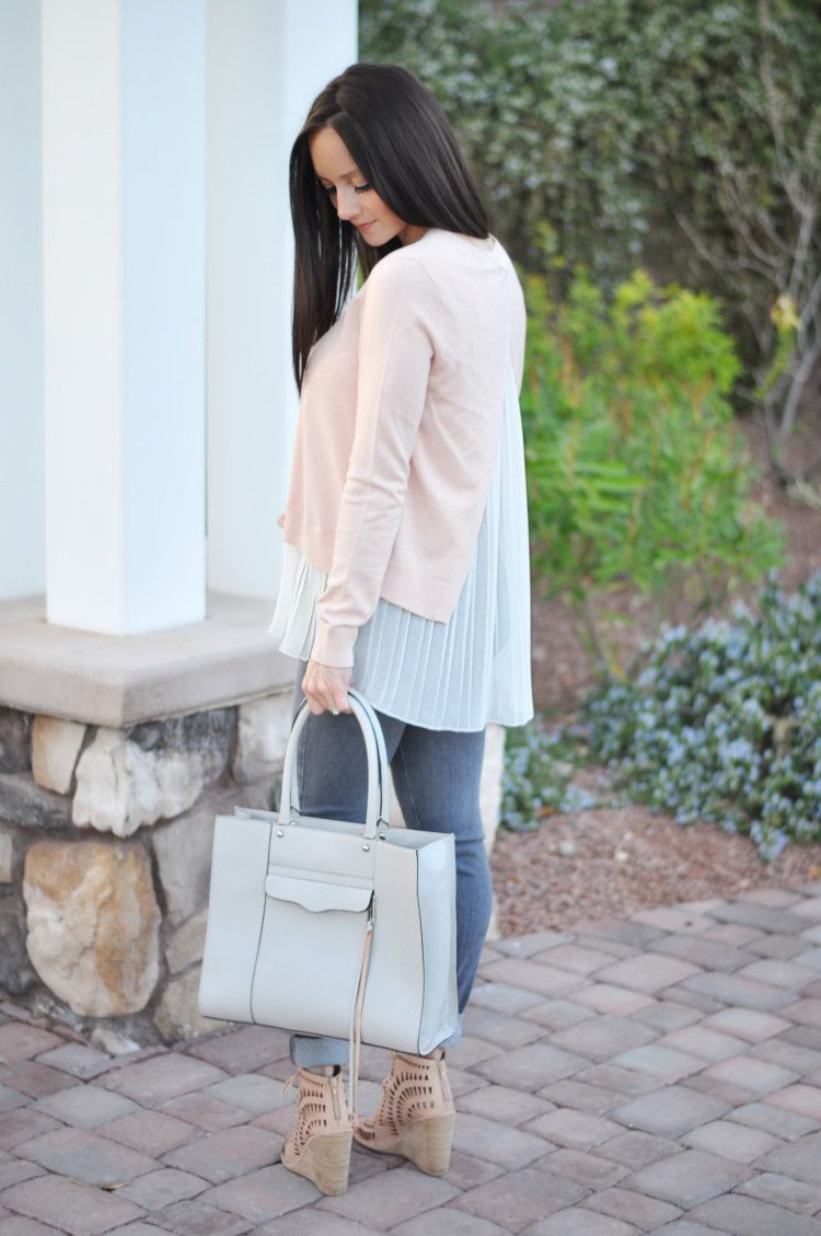 Layered light pink split back sweater | grey jeans| Rebecca Minkoff MAB tote | Jeffrey Campbell laser cut wedges