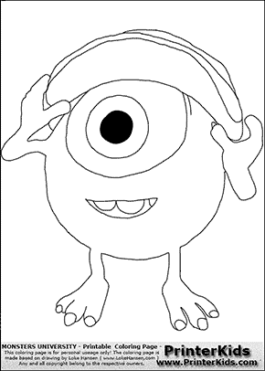 Monsters university young mike wazowski with cap on 1 for Mike wazowski coloring page