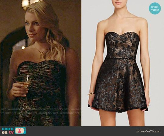 Mary Louise's black strapless leather-lace dress on The Vampire Diaries. Outfit Details: http://wornontv.net/53895/ #TheVampireDiaries