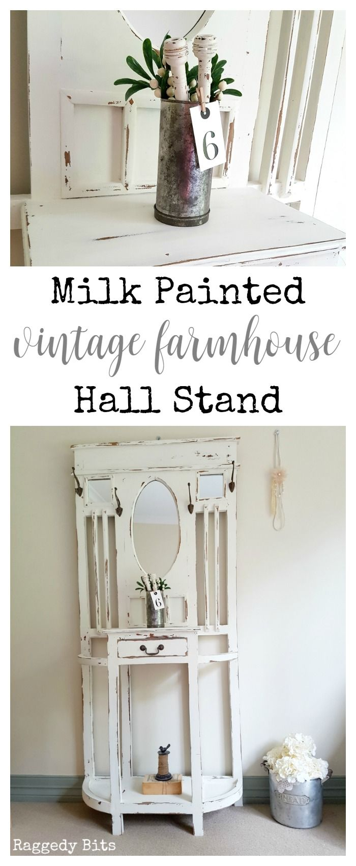 Milk painted vintage farmhouse hall stand hall stand vintage