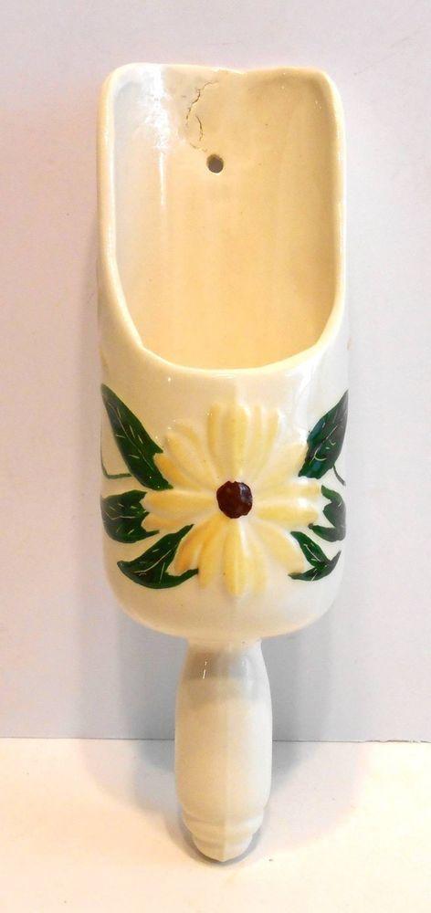 Vintage Yellow Flower Scoop Ceramic Art WALL POCKET Vase | Vintage ...