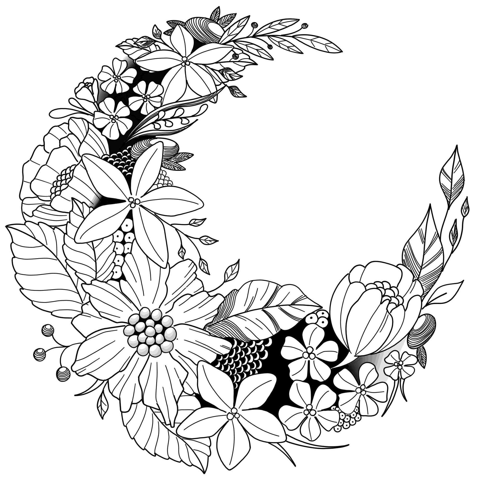 Floral Moon By Florian Fradet Blackwork Illustration Drawing