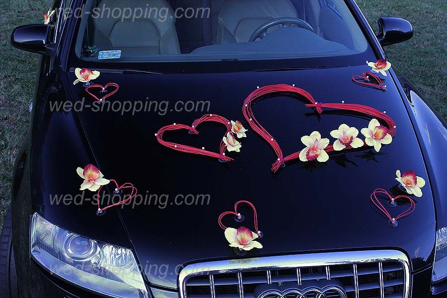 Hearts Car Deco Kit Yellow Orchids | Wedding car | Wedding ...