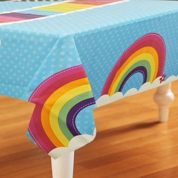 Rainbow+Wishes+Plastic+Tablecover Would be good for Baby First TV party