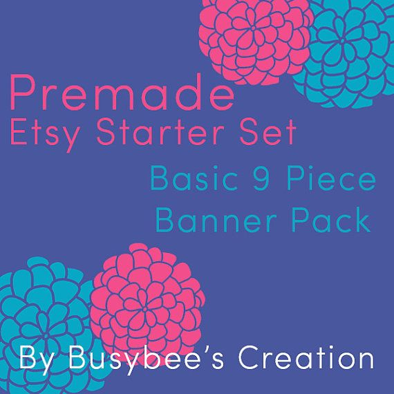 Etsy Shop Banner Pack  Basic 9 Piece Etsy by BusybeesCreation, $15.99