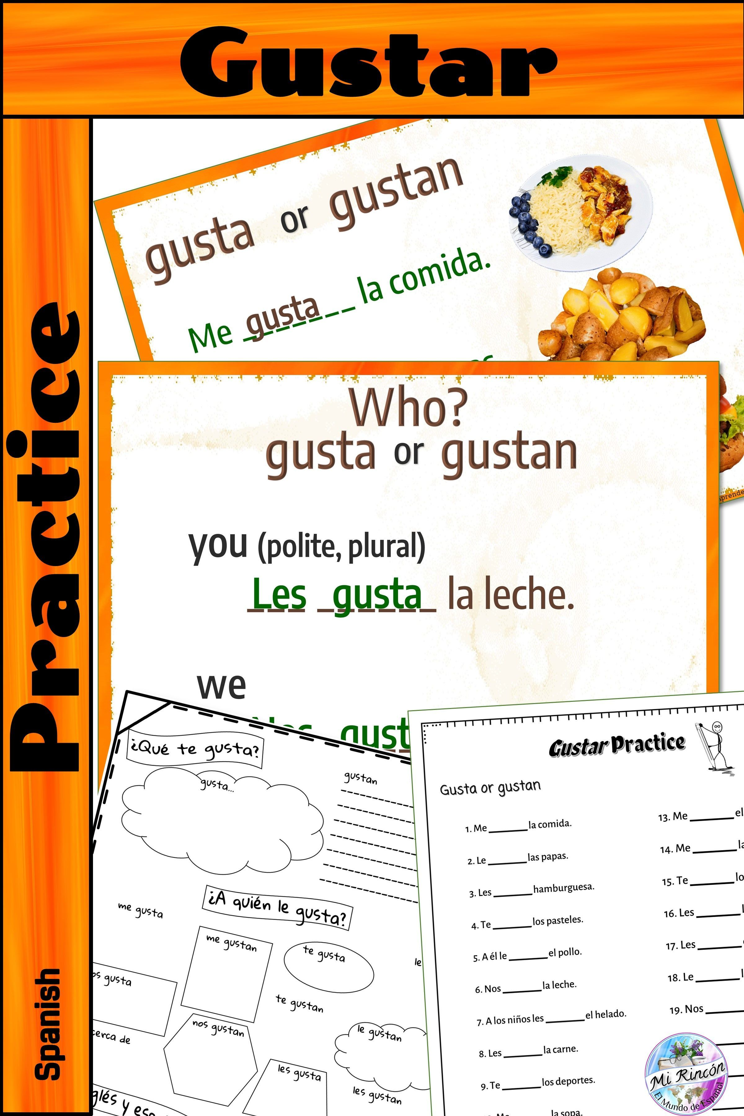 Spanish Gustar Practice Activity With Nouns Distance
