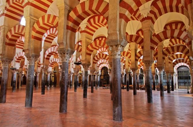 Cordoba Mosque interior with nearly 900 columns  all of which were     Cordoba Mosque interior with nearly 900 columns  all of which were salvaged  from a Roman