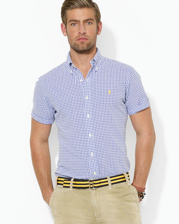 Ralph Lauren - Blue Custom Fit Short Sleeved Checked Seersucker Shirt for  Men - Lyst