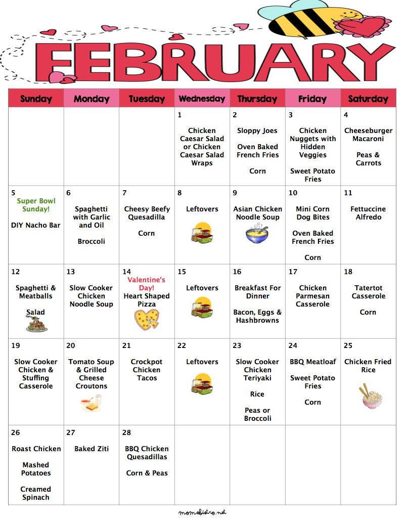 February 2017 Budget Menu Plan   Weekly Grocery Lists & Recipes   Budget Menu Plan is part of Monthly meal planning - Always know whats for dinner with Februarys menu plan  This kidfriendly menu is all ready for you  All you have to do is download, print and shop!  Februarys menu has a month of kid friendly dinners that will keep your stomach and your wallet full  Februarys menu includes special dinners for Super