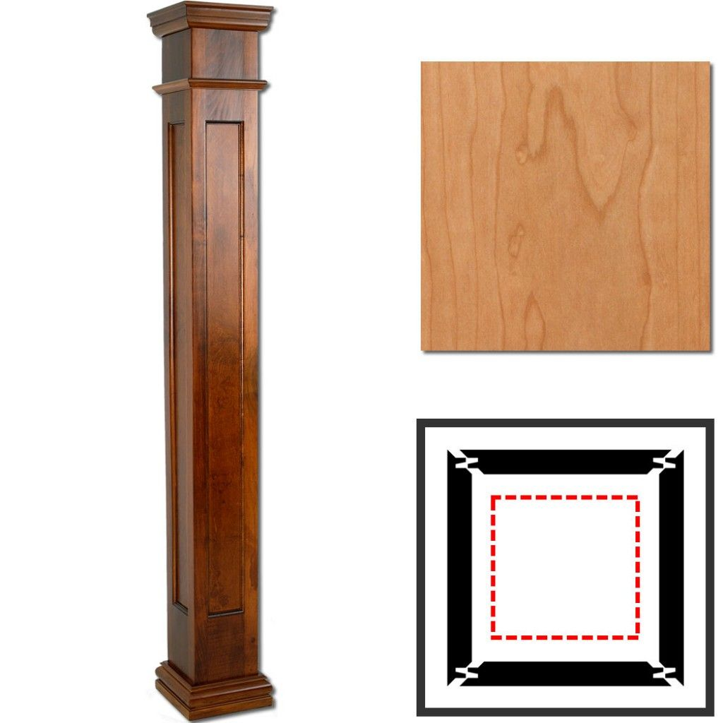 "cherry wooden column wraps | 8"" x 4' square recessed panel 