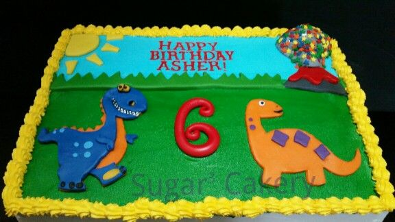 Dinosaur Sheet Cake With Volcano Sprinkles With Images
