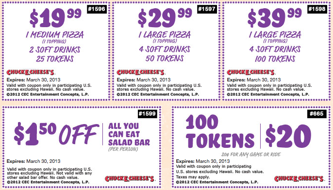Best 2020 Chuck E Cheese Coupons Free Tokens Tickets Chuck E Cheese Printable Coupons Coupons