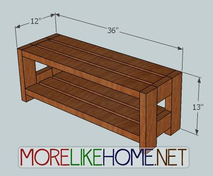 2x4 shelving plans dimensions 36 wide x 13 tall x 12 deep - Shoe Rack Plans