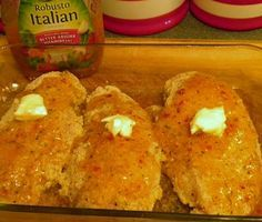 Italian dressing baked chicken breasts...been doing this for years...also use chicken legs and add baby carrots and cut up red potatoes...awesome!