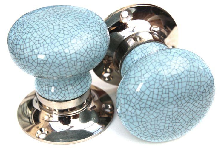 Knobbles and Bobbles Ltd Cream With Black Crackle Glaze Knob
