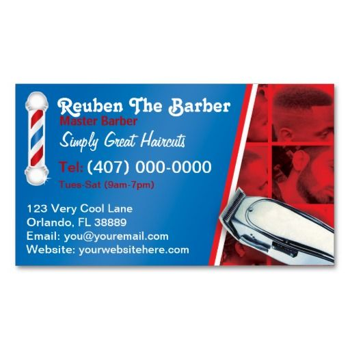 Barbershop barber barber pole and clippers double sided for Barber shop business card