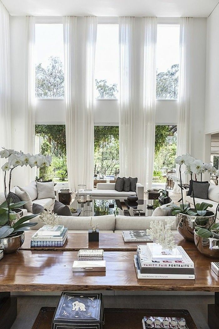 Attraktiv Wanddesign Ideen Wohnideen Wohnzimmer Große Fenster Lange Gardinen Weiß  Orchideen