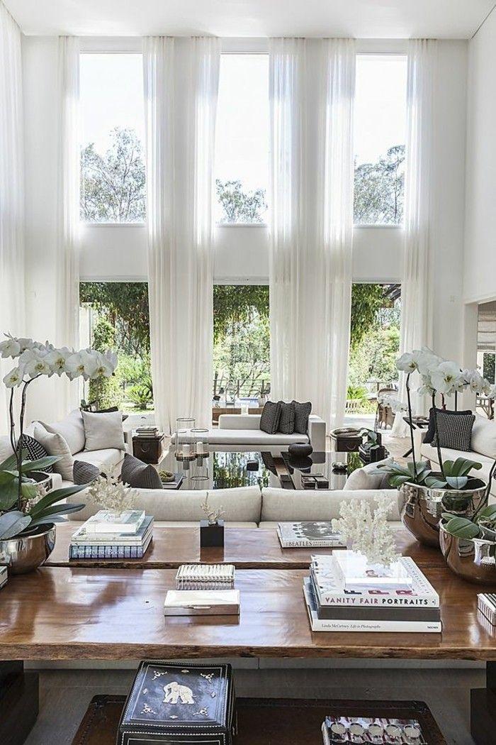 Genial Wanddesign Ideen Wohnideen Wohnzimmer Große Fenster Lange Gardinen Weiß  Orchideen