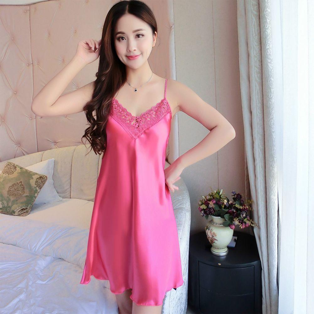 3.73 - Braces Silk Lingerie Dress Women Nightdress Babydoll Nightgown  Sleepwear  ebay  Fashion 4127ab2e4