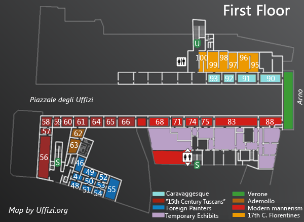 Map Of The First Floor Of The Uffizi Uffizzi Gallery