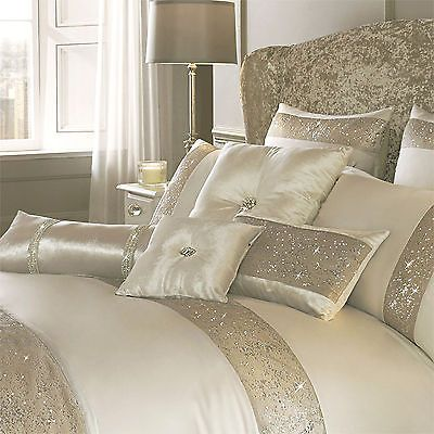 Oyster Cream Duvet Cover Pillow Cases, Luxury Cream And Gold Bedding