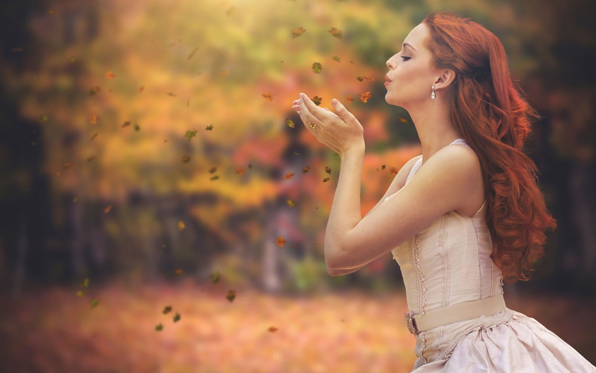 Autumn, leaves, red hair girl wallpaper 1920x1200