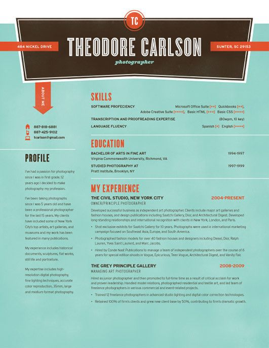 Resume Template Nickel Try Turquoise Loft Resumes Resume Design Resume Template Resume Examples