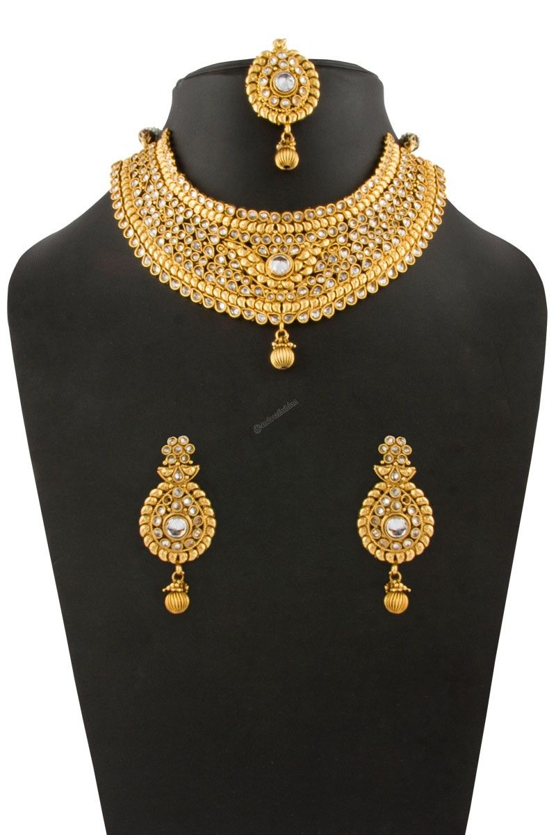 Golden Studded Necklace With Jhumka Earrings And Tika Andaaz Fashion Malaysia Presents Crystal