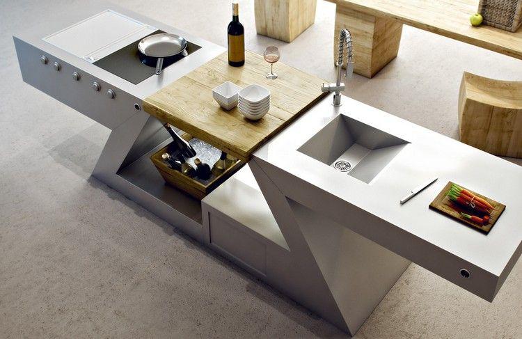 meuble kitchenette avec vier plaques induction plancha et planche d couper k che. Black Bedroom Furniture Sets. Home Design Ideas