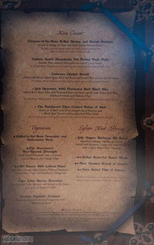 Disney Magic Pirates IN The Caribbean Menu Main Course October 2013
