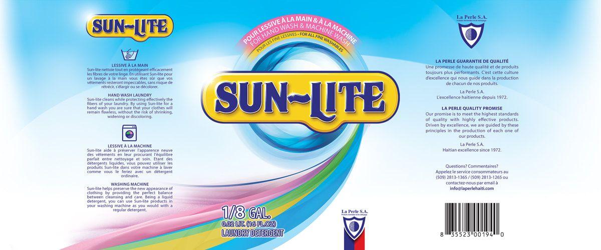 Packaging Label Design For Sun Lite Laundry Detergent Flats