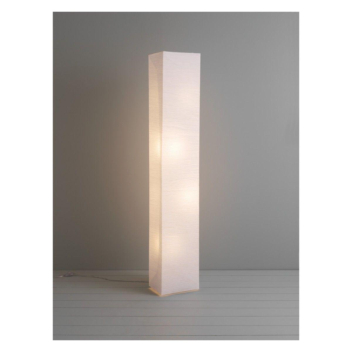 Unique white floor lamps - Square Paper White Crinkled Paper Floor Lamp