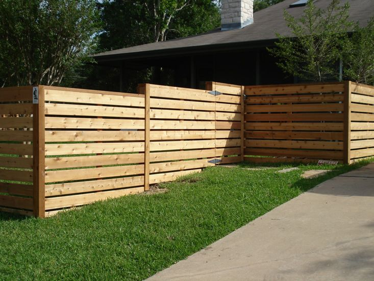Wood Fences Gallery Viking Fence Horizontal Semi Privacy Fence Made With 5 4 Board Stained 2 Fence Design Fence Decor Privacy Fence Designs