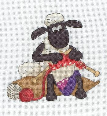 Pattern For Knitted Baby Hats : Shaun Knitting - Shaun the Sheep Cross Stitch Kit I   Cross Stitch Pinter...