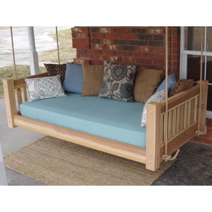 Longbridge Cedar Hanging Daybed Rope Porch Swing (With