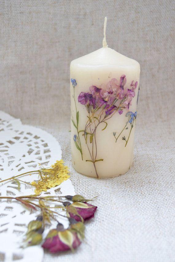 Floral Candle Summer Flower Candles Wedding Decor Favors Botanical