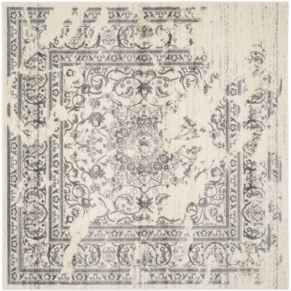 Adirondack Ivory Silver 8 Ft X 8 Ft Square Area Rug Products