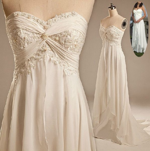 577688fc3ee Beach Wedding Bride Dresses 2016 Sexy Empire Sweetheart Ruffles Appliques  Chiffon Low Price Hot Sale Summer Casual Bridal Gowns
