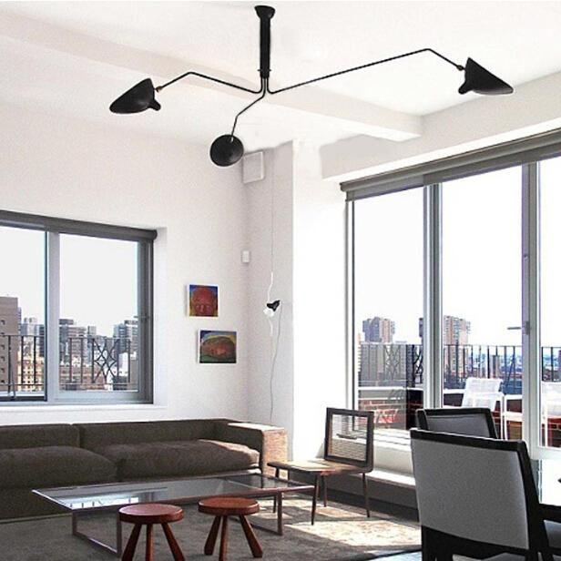 FUMAT Serge Mouille Three Arm Ceiling Light Modern Minimalist Creative Art  Stainless Steel Ceiling Light Living Room Office Light