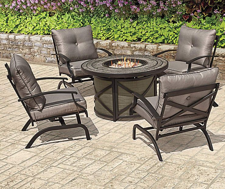 Wilson Fisher Canyon 5 Piece Fire Pit Chat Set Big Lots Fire Pit Furniture Fire Pit Chat Set Fire Pit Seating