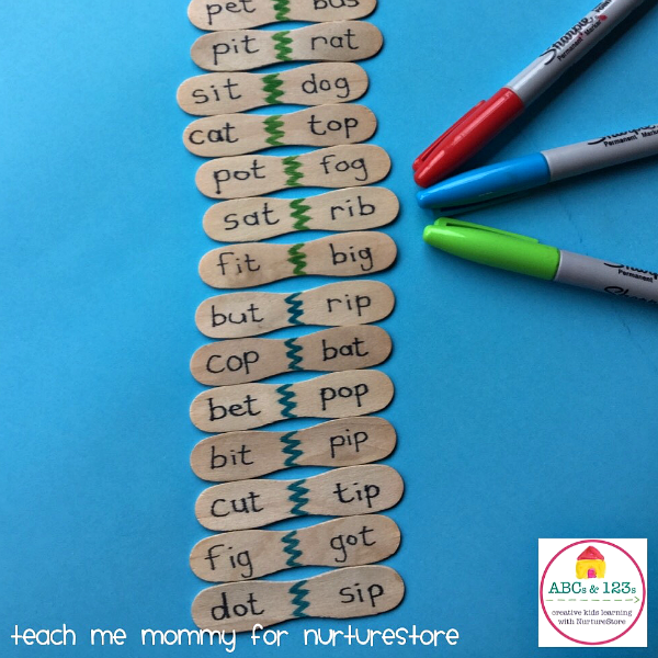 Homemade Word Dominoes Game For CVC Words