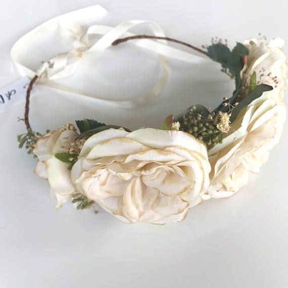 Items Similar To Dried Flower Crown Wedding Flower Circlet Bridal Floral Halo English Rose Wedding Headpiece Eucalyptus Crown Champagne Flower Crown On Et Flower Crown Wedding Floral Halo Rose Wedding