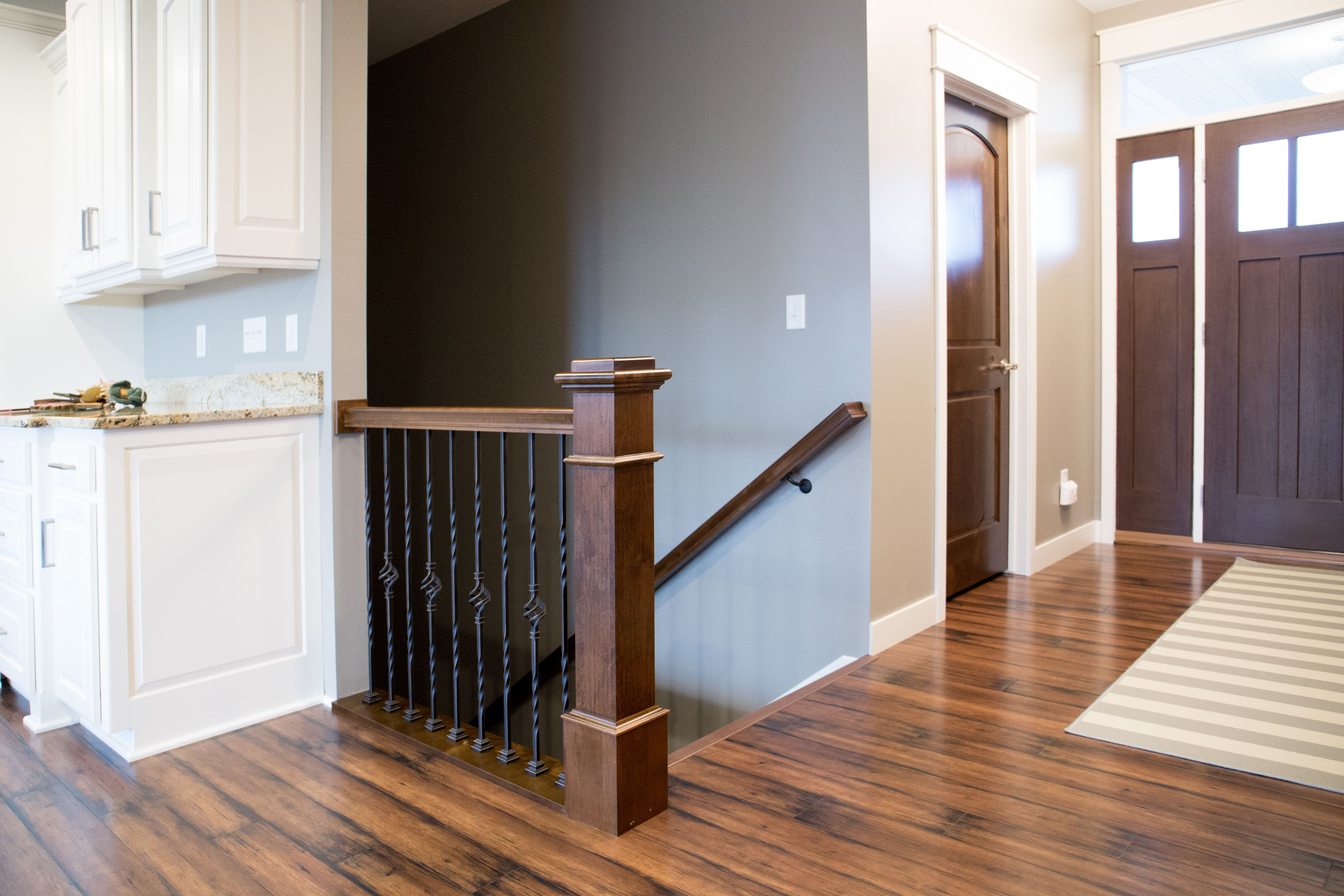 Stair Systems | A Prefinished Newel Post And Handrail Match The Exterior  And Interior Doors,