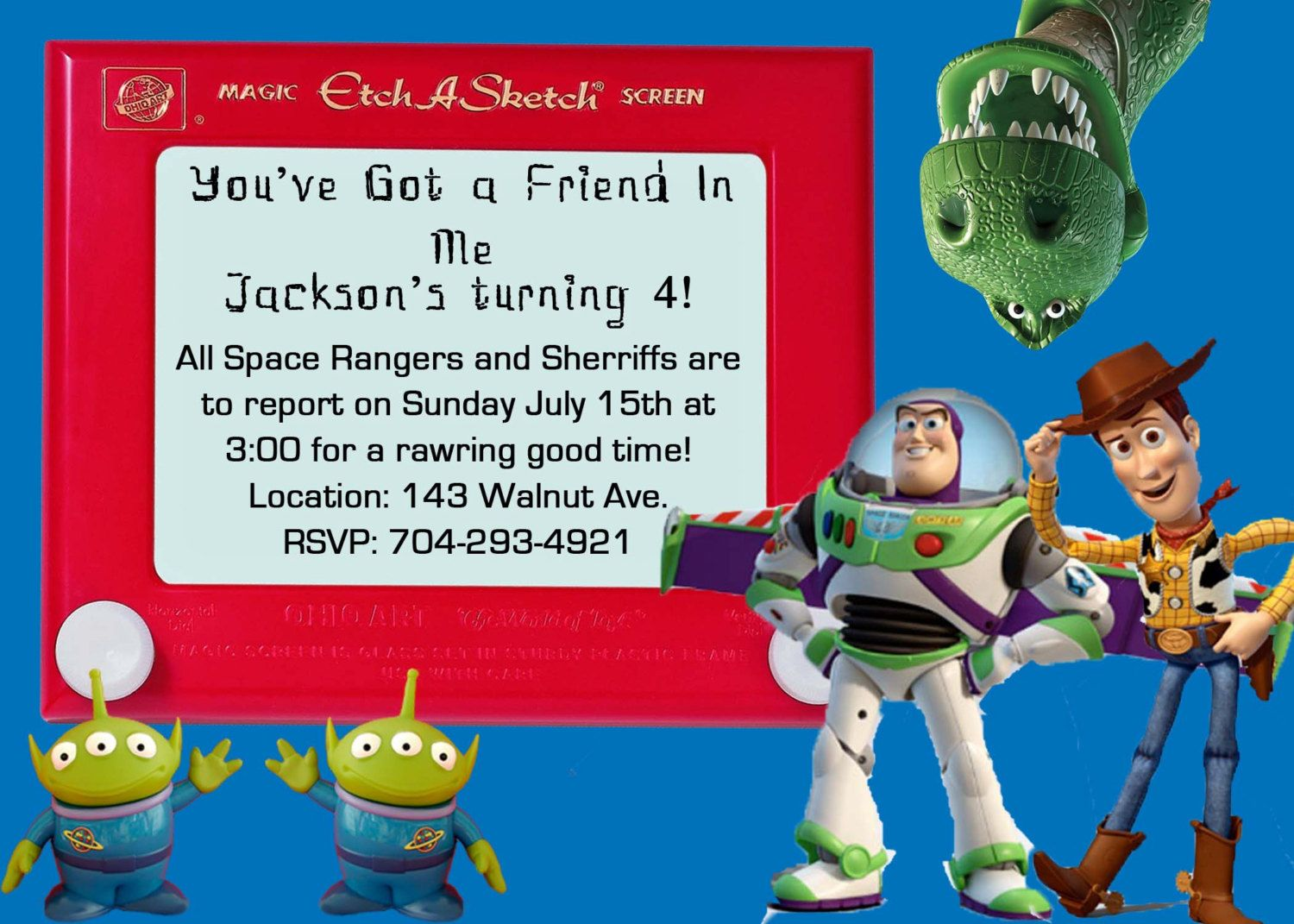 toy story woody and buzz birthday invite card can be personalized