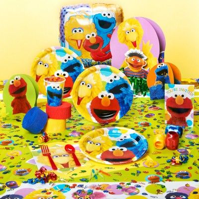 sesame street party supplies  This is the very first birthday and you  This is a popular theme and almost every child has watched Elmo as he has enjoys many adventures with his friends. The assortment of great party supplies featuring Elmo, Big Bird, Cookie Monster and Ernie provide everything needed to set up the party room. The centerpiece for the table, balloons, crepe paper rolls for streamers and curling ribbon as well as the birthday candles and confetti are all available.