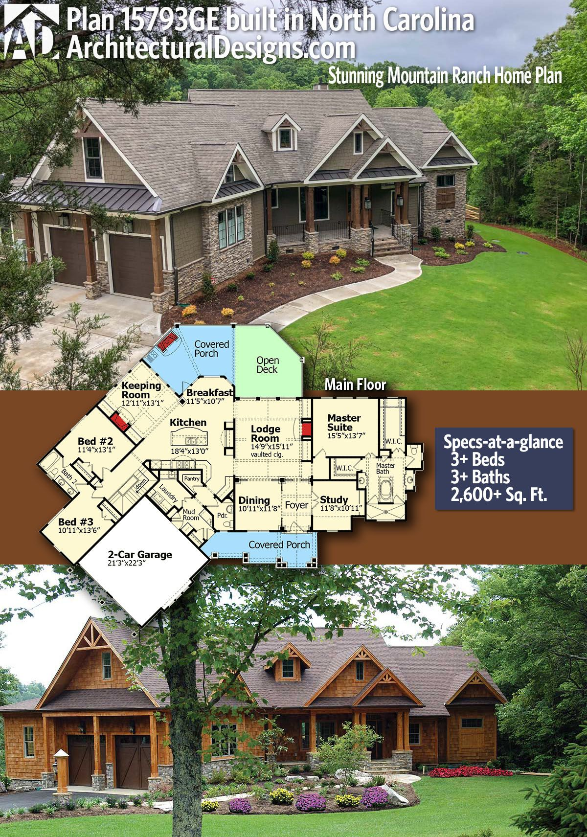 Architectural Designs Client Built House Plan 15793ge Comes To Life In North Carolina 3 Br 2 Ranch House Plans Mountain House Plans Craftsman House Plans