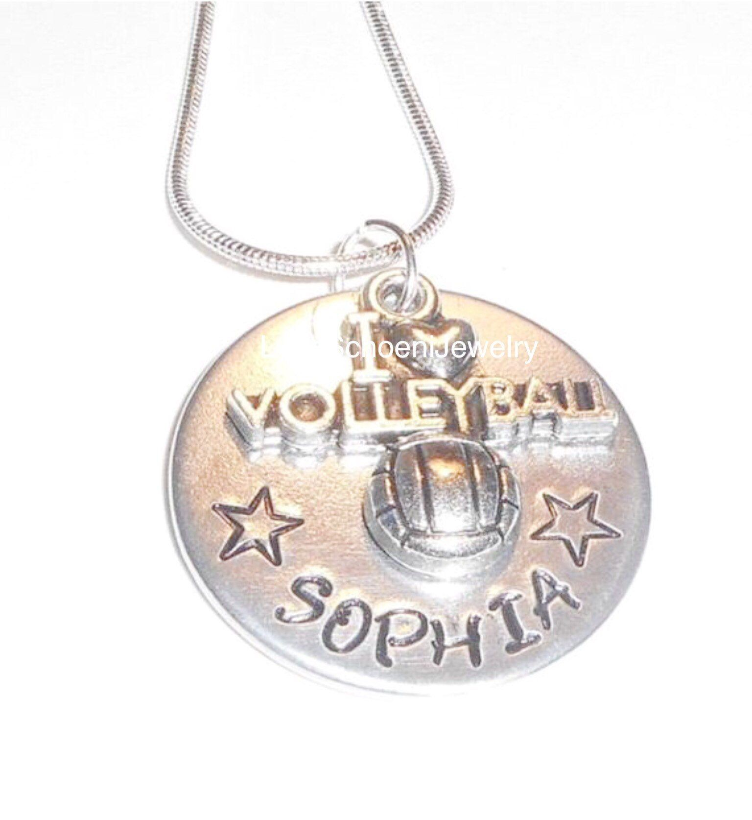 Custom Volleyball Necklace Volleyball Charm I Love Etsy Hand Stamped Jewelry Necklace Hand Stamped Jewelry Personalized Jewelry