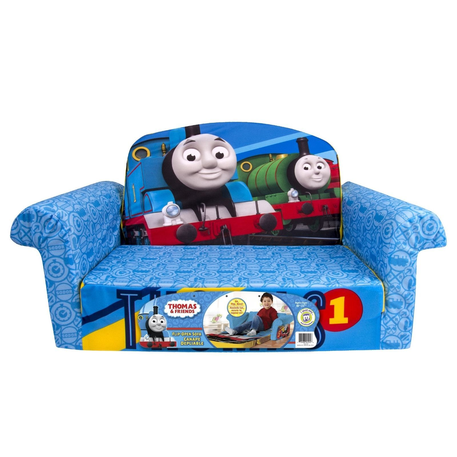 Kids Sofa Bed Chair Thomas the Tank Engine Go Go Open Longer Couch